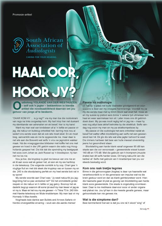 YVDW Audiology Wild en Jag Magazine Page 1, hearing test